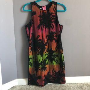 Black Neon palm tree Bodycon dress NWOT